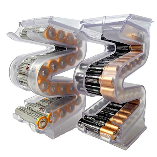 Power Tower AA & AAA Combo Battery Holder, Stackable Wall Mountable
