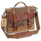 Manificent Men's Messenger Bag, 16 Inch Vintage Waxed Canvas Genuine Leather Large Satchel Shoulder Bag Waterproof Canvas Leather Computer Laptop Bag,Briefcase Tablet Messenger Bag, (Brown)