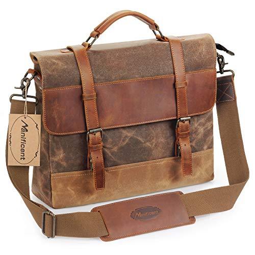 Mens Purse - Manificent Men's Messenger Bag, 16 Inch Vintage Waxed Canvas Genuine Leather Large Satchel Shoulder Bag Waterproof Canvas Leather Computer Laptop Bag,Briefcase Tablet Messenger Bag, (Brown)