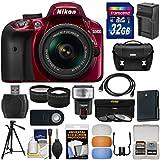 Nikon D3400 Digital SLR Camera & 18-55mm VR DX AF-P Zoom Lens (Red) with 32GB Card + Case + Flash + Battery & Charger + Tripod + Tele/Wide Lens Kit