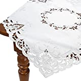 HomeCrate Decorative Cream Rose Table Topper, Handmade Embroidered Cutwork - 36'' Square