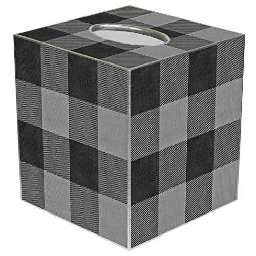 Box Tissue Farm - Tissue Box Cover Tissue Holder Square Cube Buffalo Plaid Farmhouse Bathroom Decor Rustic Bathroom Decor Gray and Black Buffalo Check