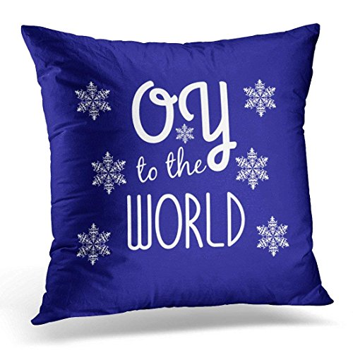 Throw Pillow Cover Funny Hanukkah Oy to the World Holiday Chanukah Decorative Pillow Case Home Decor Square 18 x 18 Inch Pillowcase -