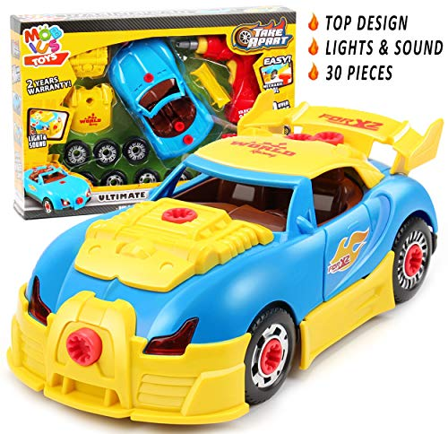 Take Apart Racing Car Toys Constructions Set - Build Your Own Toy Kit (30Pcs), Race Car Toys for Girls & Boys Ages 3 4 5 6 7 8 w/ Toy Tools for Kids Including Engine Sounds & Lights & Drill, Gift Box