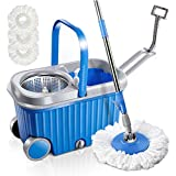 Microfiber Spin Mop and Bucket Set with 3 Pcs Microfiber Mop Heads and Wheels Floor Cleaning Tools with Stainless Steel Basket for Dry and Wet