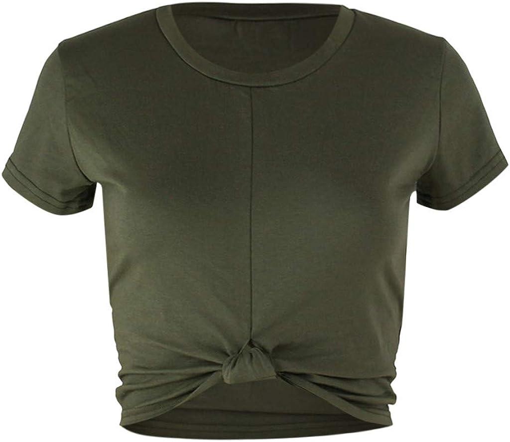 Women Fashion O-Neck Solid Short Blouse T-Shirt Summer Short Knot Tunics Tops Shirts