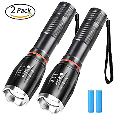 2 Pack LED Flashlights with Rechargeable Batteries,COB Sidelights Design Tactical Flashlight Hight Lumen,Zoomable Focus Water Resistant handheld lights for Outdoor Hiking Camping Emergency