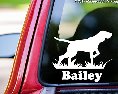 (Minglewood Trading Bird Dog vinyl decal sticker w/Personalized Name 5.5