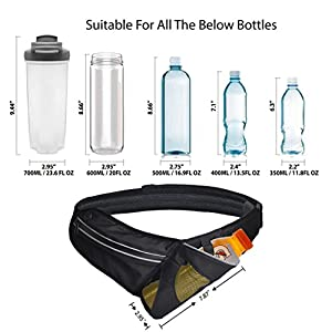 "Avantree Water Bottle Belt for Jogging Hiking, Hydration Waist pack (Size 34""-44"") with Holder for iPhone 6 Plus, Samsung, Nexus 6p etc.(Bottle not included)"