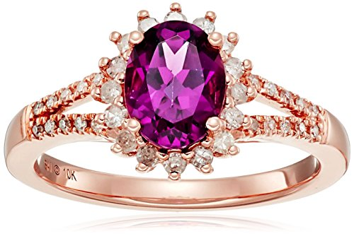 10k Pink Gold Oval Shape Rhodolite and Diamond Ring , Size 7