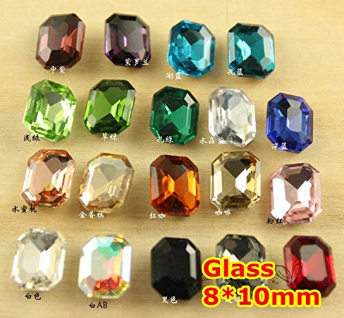 Kamas 300Pcs 810mm Rectangle Octagon Crystal Fancy Stone Pointback Glass Foiled For Jewelry Making,Garment Use,weeding dress stones - (Color: Sapphire 300pcs)
