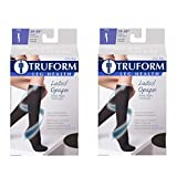 Truform Women's Compression 20-30 mmHg Knee High Open Toe Stockings Black, X-Large, 2 Count
