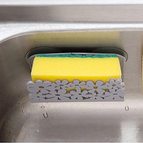 Coerni Suction Cup Sponge Holder, Kitchen Sink Caddy Brush Soap Dishwashing Liquid Drainer Rack (Grey)