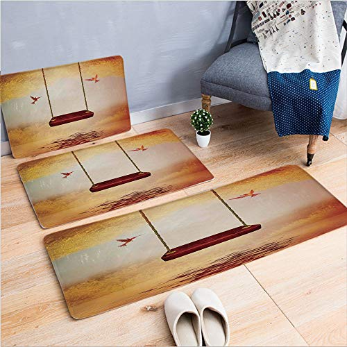 3 Piece Non-Slip Doormat 3d print for Door mat living room kitchen absorbent kitchen mat,Hummingbird in a Peaceful Lake Fantasy Fairytable,15.7