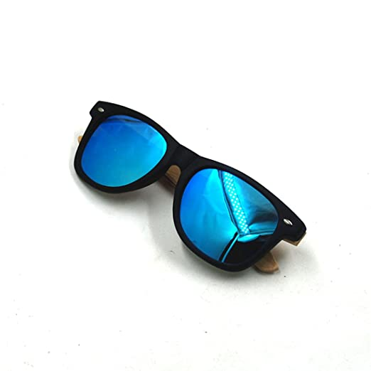 Amazon.com: Plastic Bamboo Arms Sunglasses Yellow Polarized Lenses Black Men Women Sunglasses (Black, Blue): Clothing