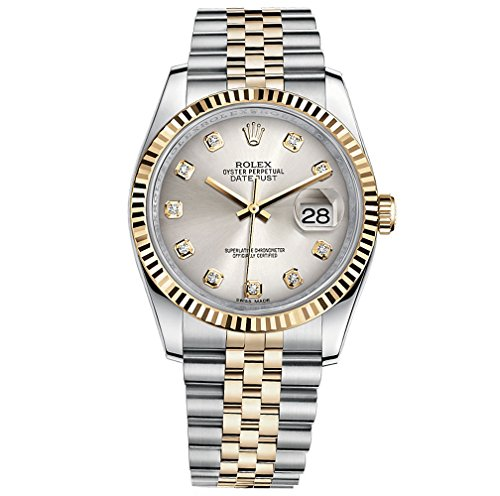 Rolex Datejust 36 Steel Yellow Gold Watch Steel Silver Diamond Dial 116233