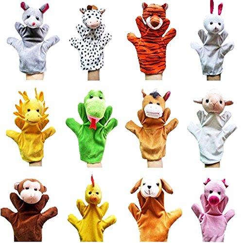 Remeehi 12pcs Farm Hand Puppet Animals Plush Animal - Farm Animal Hand Puppets