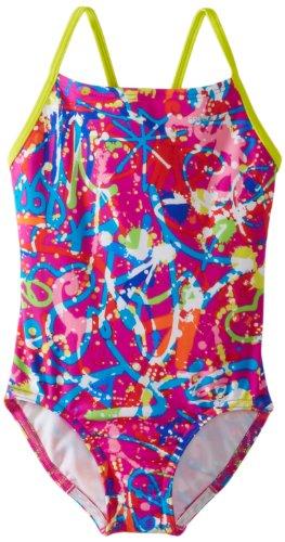 Speedo Big Girls'  Graphic Graffiti Thin Strap Swimsuit, Pink, ()