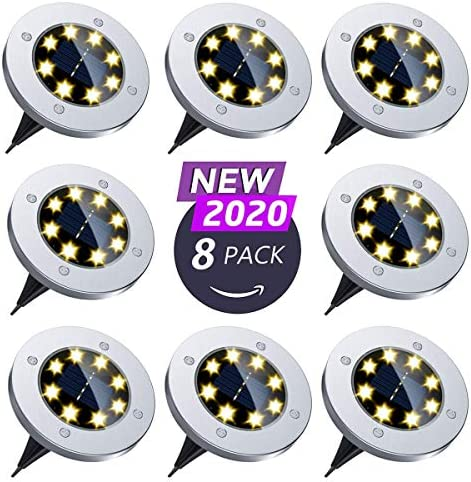 Flalivi Solar Ground Lights – 8 LED Solar Garden Lights Outdoor Waterproof Bright in-Ground Lights for Lawn Pathway Yard Driveway 8 Packs