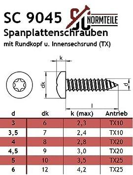 SC9045 25 St/ück SC-Normteile/® - Vollgewinde - 6 x 40 mm - verst/ärkter Kopf, Pan Head, Antrieb: T-25 Spanplattenschrauben mit Rundkopf und TX Edelstahl A2 V2A