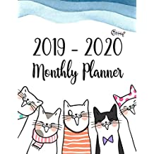 2019-2020 Monthly Planner: Two Year - Monthly Calendar Planner | 24 Months Jan 2019 to Dec 2020 For Academic Agenda Schedule Organizer Logbook and Journal Notebook Planners | Happy Cat Cover