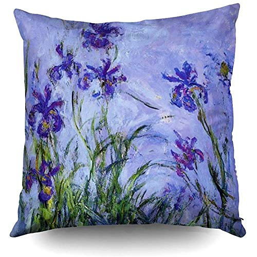 Lilac Irises Claude Monet fine Art Decorative Throw Pillow Case 18 x 18 Inch,Home Decoration Pillowcase Zippered Pillow Covers Cushion Cover with Words for Book Lover Worm Sofa Couch ()