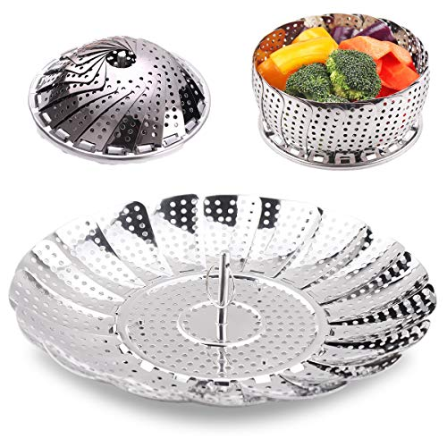 100% telescopic Stainless Steel Steamer Basket/Insert for Pots, Foldable Vegetable Crock Steam For Fish Veggie Seafood. (5.5 inch to 8.8 inch Diameter)