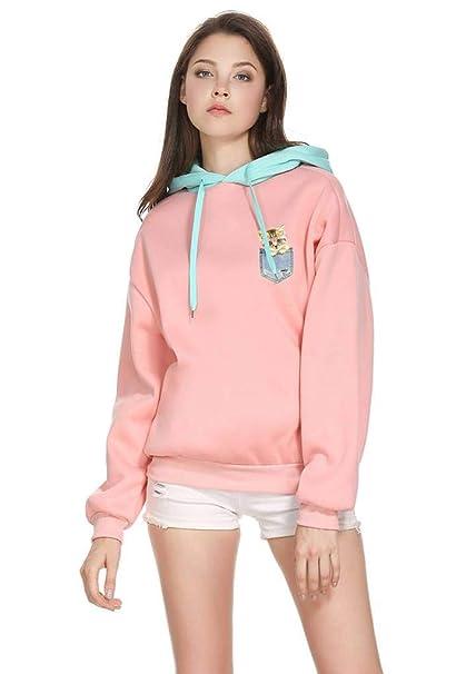 Amazon.com: VIK Women Mujer Kawaii Cartoon Pocket Cat Patchwork Hoodies Hooded Sweatshirts: Clothing