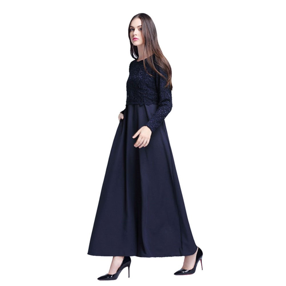 Hzjundasi Muslim Kaftan Womens Abaya Dress Middle East Islamic Long Sleeve Lace Patchwork Maxi Dress Malaysia Arab Robes: Amazon.co.uk: Clothing