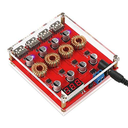 DROK Buck Converter Voltage Regulator DC 9V 12V 24V to DC 5V Power Supply Transformer Charge Adapter Module 4 USB Port Support QC 3.0 2.0 Fast Charging with LED Display Input Volt & Acrylic Shell