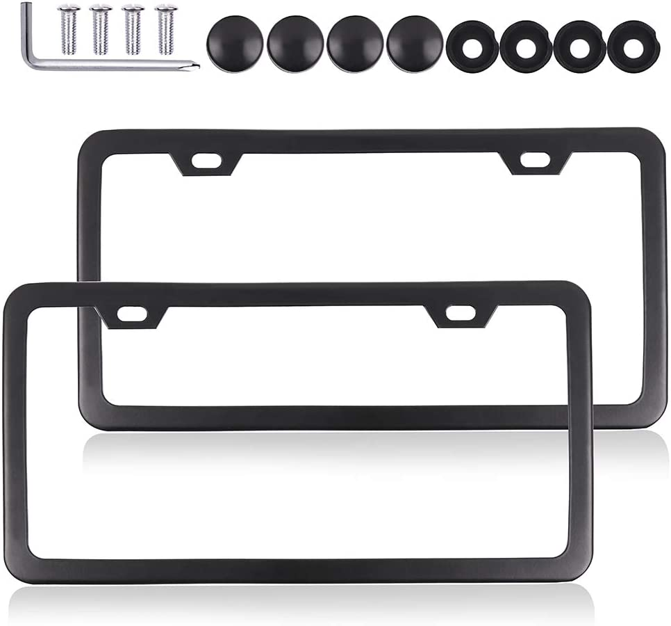 ROADFAR License Plate Frame Slim Design with Bolts Washer Caps, Aluminum Tag Holders 2 Holes kit,2pcs Car Licenses Plate Covers Holders,Protect Front and Back License Plates for US Vehicles