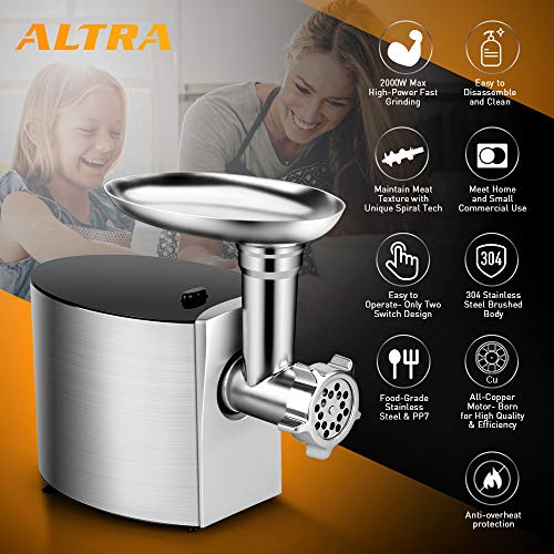 ALTRA Electric Meat Grinder, Stainless Steel Meat Mincer & Sausage Stuffer,【2000W Max】ETL Approved with 3 Grinding Plates, 2 Blades, Sausage & Kubbe Kit, Kitchenaid & Commercial Use, Silver by Altra (Image #5)