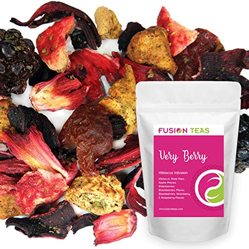 - Very Berry Hibiscus Herbal Fruit Tea - Caffeine Free Loose Leaf Bulk Berries Herbs and Flowers - 5 Oz Pouch