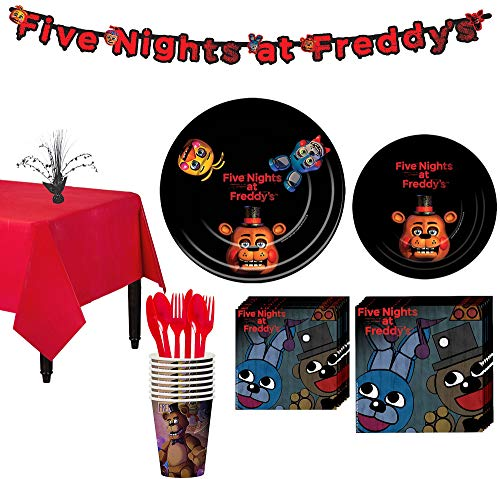 Party City Five Nights at Freddy's Tableware Party Supplies for 8 Guests, Include Plates, Napkins, a Banner, and More