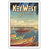 Key West, Florida - Vacation Year-Round - Ernest Hemingway's Yacht Pilar - Vintage Style World Travel Poster by Kerne Erickson - Master Art Print - 12 x 18in