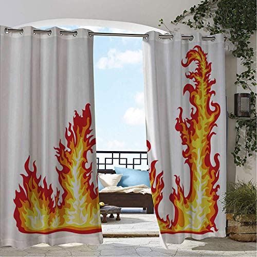 - Linhomedecor Gazebo Waterproof Curtains Yellow and Red Flame Burning Fury Flame Inferno Illustration Ornamental Fire Print Red Orange Yellow Porch Grommet Bathroom Curtain 96 by 96 inch