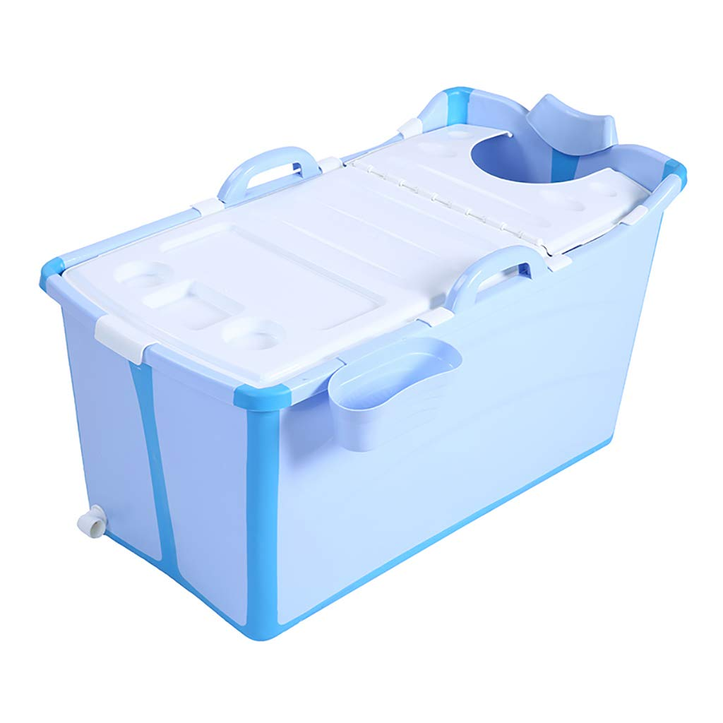 NYJS Children Folding Bathtub Adult Bathtub Foldable Large Bathtub Baby Pool Adult Bathtub Home Thickened Lid (Color : Blue, Size : 955253 cm)