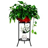 Plant stand Plant flower pot rack,Wrought iron Metal Tray design Free standing flower rack Multilayer Pergola Balcony Floor-mounted Living room Interior Outdoor-B H:50cm(20inch)