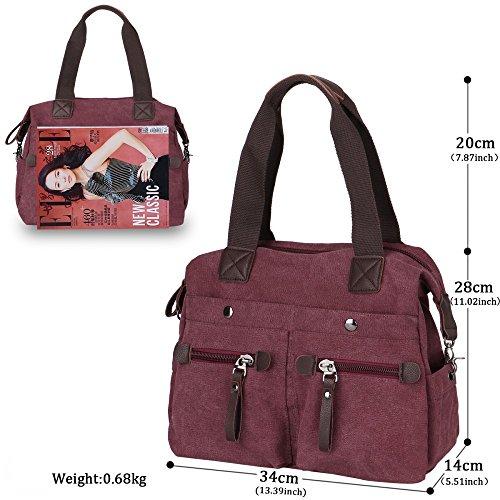 Bags Retro Large Shoulder Unisex for Women's Girls Travel Handbags Canvas Capacity Caqui 6Uw86F
