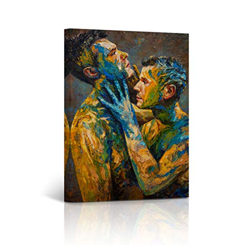 Buy4Wall Fusion Lovers Gay Art Couple Wall Art Oil Painting Canvas Print Naked Artwork Nude Man LGBT Man Sexy Wall Art Stretched and Framed - Ready to Hang -%100 Handmade in The USA - 40x30