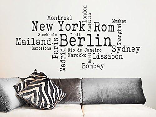 Ciudades – Adhesivo de pared Ciudades, plata, 80x43cm: Amazon.es ...
