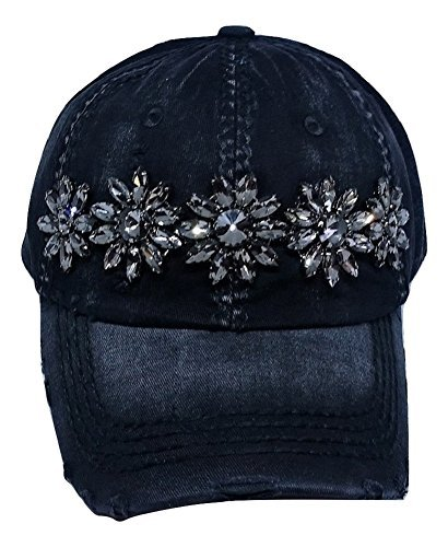 Olive & Pique Women's Sophia Glitz Distressed Baseball Cap (Black)