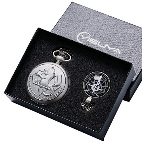 Xmas Gift, Vintage Captain Pocket Watch for Men's, Fullmetal Alchemist Pocket Watch for Boy, Shield Pendant Chain - WuHu Ren Store ()