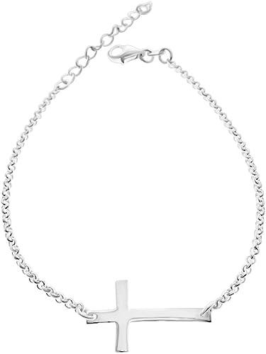 sideway cross bracelet 925 sterling silver small celebrity size cross bracelet for woman dainty cross bracelet for man