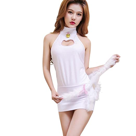 678fd989ae957 Amanod Valentine 2018 hot sale Women Sexy Cute Anime Cat Lingerie Set  Underwear Cosplay at Amazon Women s Clothing store