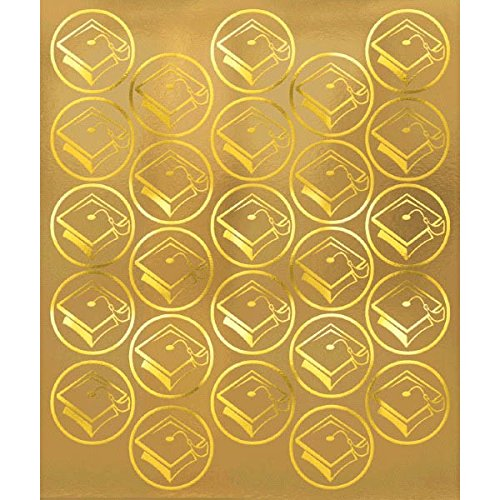 New Amscan Grad Metallic Graduation Party Sticker Seals, Gold, 6 1/4 x 5 1/4