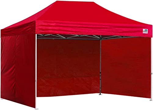 Eurmax Basic 8×12 Ez Pop up 4 Wall Canopy Instant Outdoor Party Tent Shade Gazebo 4 Sidew Walls Red