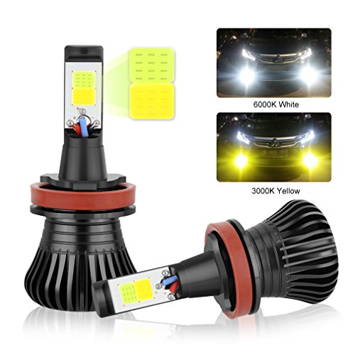 H11 LED Fog Light Bulbs H8 H9 LED Bulbs, Dual Color with COB Chips Super Bright Replacment for Car DRL or Fog Lights 3000K Yellow Amber 6000K Xenon White ()
