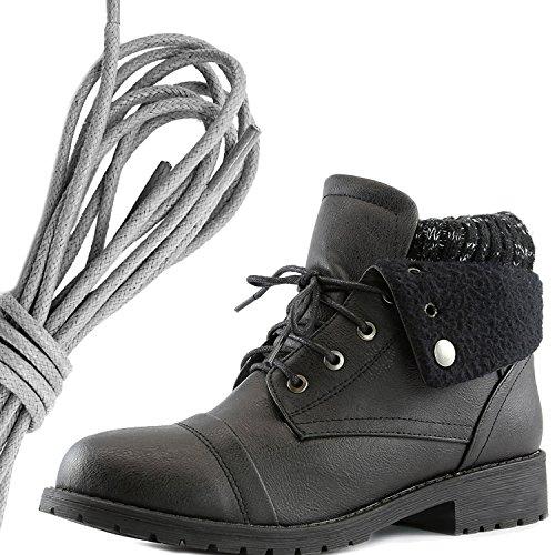 Dailyshoes Womens Boot Style Lace Up Maglione Stivaletto Alla Caviglia Con Taschino Per Porta Carte Di Credito Tasca Porta Soldi, Grigio Nero Pu