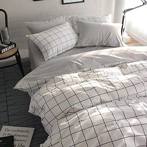 (VClife Queen/Full Duvet Cover Set Cotton Bedding Set Collection with 2 Pillow Shams Grey White Checkered Style)